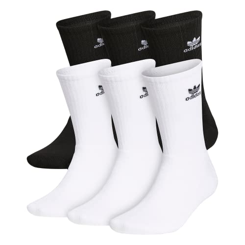 adidas Originals Men's Trefoil Crew Socks (6-Pair), White/Black Black/White, Large, (Shoe Size 6-12)