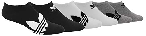 adidas Originals Men's Trefoil Superlite No Show Socks (6-Pair), Black/White White/Black Heather Grey/Black, Large, (Shoe Size 6-12)
