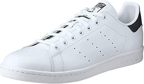 adidas Originals Men's Stan Smith Leather Sneaker, Core White/Core White/Dark Blue, 11.5