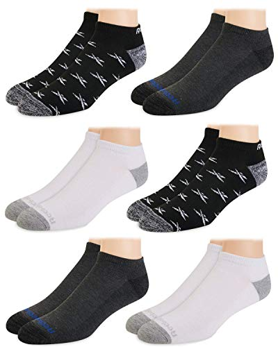 Reebok Mens? Breathable No-Show Low Cut Basic Cushion Socks (6 Pack) (Assorted 2, Shoe Size: 6-12.5)