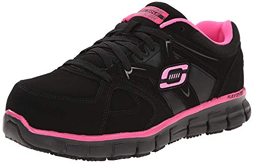 Skechers for Work Women's Synergy Sandlot Lace-Up, Black/Pink, 5 XW US