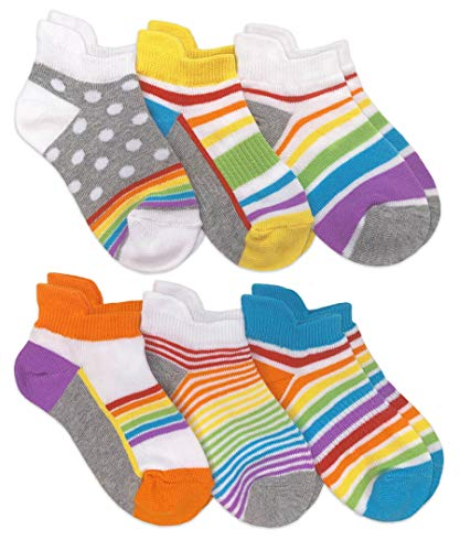 Jefferies Socks Girl's Colorful Rainbow Sport Tab Low Cut Socks 6 Pack, Rainbow, Small