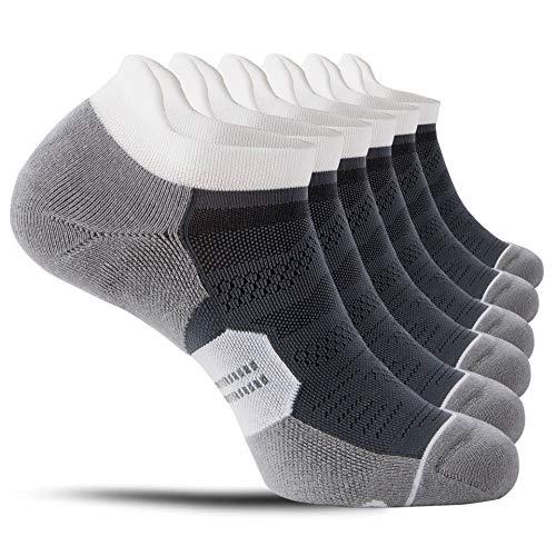 CelerSport 6 Pack Men's Running Ankle Socks with Cushion, Low Cut Athletic Tab Socks, Grey, Large
